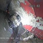 zawalona rura na inspekcji kanalizacji